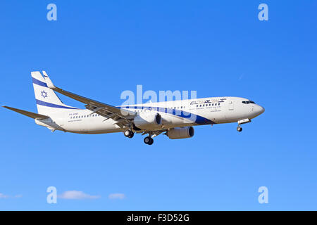 ZURICH - JULY 18: Boeing-737 Israeli El Al landing in Zurich after short haul flight on July 18, 2015 in Zurich, - Stock Photo
