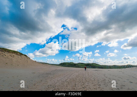 A beautiful lonely walk on the beach to the dunes - Stock Photo