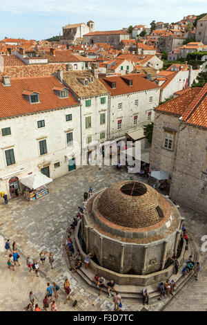 Big Onofrio's Fountain at the Old Town in Dubrovnik, Croatia, viewed from above. - Stock Photo