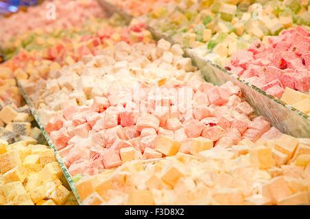 Famous turkish delights on the market - Stock Photo