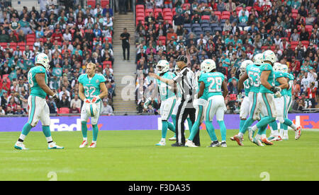October 4, 2015: Miami Dolphins Safety Jordan Kovacs (32)  during the New York Jets International Series game versus - Stock Photo