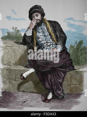 Europe. Jewish man from Thessaloniki, 1880. Engraving. - Stock Photo