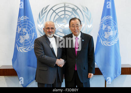 New York, USA. 5th Oct, 2015. United Nations Secretary-General Ban Ki-moon(R) meets with Iranian Foreign Minister - Stock Photo