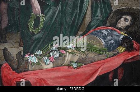 Julius Caesar (100BC-44BC). Roman statesman. Dictador of the Roman Republic. Murder. Corpse of Julius Caesar. Engraving. - Stock Photo