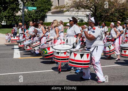 Batalá drummers at parade - Washington, DC USA - Stock Photo