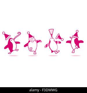 Four Happy Pink Penguins wearing Santa Hats Dancing at fun Party - Stock Photo