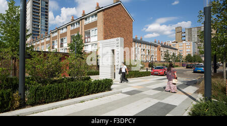 View of landscape architecture on the Brownfield Estate. Brownfield Estate, London, United Kingdom. Architect: PRP - Stock Photo
