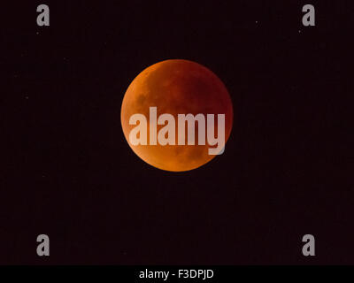 Total lunar eclipse, full moon, 28/09/2015, 04:22:44, Oberhof, Thuringia, Germany - Stock Photo