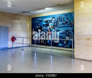 Berlin Tempelhof Airport, Berlin-Tempelhof Flughafen - Artwork mural in Terminal building of former main airport - Stock Photo
