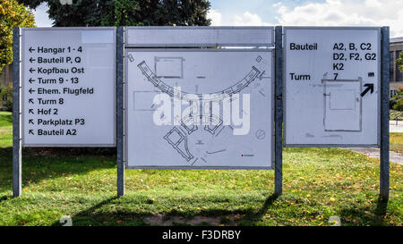 Berlin Tempelhof Airport, Berlin-Tempelhof Flughafen Map - Stock Photo