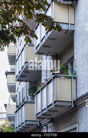 Bird nesting box on balcony of apartment building - Stock Photo