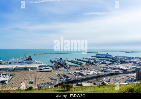 The Port of Dover viewed from the clifftops, Kent, England, UK - Stock Photo
