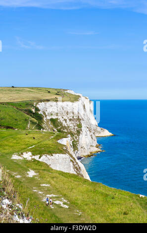 View from the clifftop path at the White Cliffs, Dover, Kent, England, UK - Stock Photo