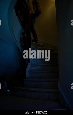 Male college student going up marble staircase - Stock Photo