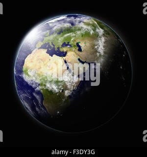 Realistic illustration of planet Earth as seen from space facing Africa, Europe and middle east region - Stock Photo