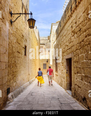 A quiet backstreet in Mdina, Malta - Stock Photo