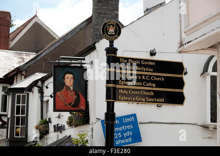 Signpost in the High Street in the town of Cowbridge in the heart of the Vale of Glamorgan - Stock Photo