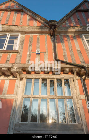 Exterior detail of a medieval timber-framed building in the village of Lavenham, Suffolk, England. - Stock Photo