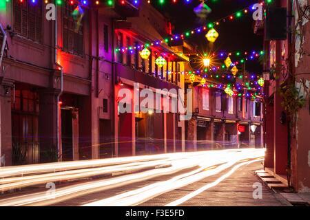 Malacca, Malaysia - 09 August 2014: Holiday illumination on the street of Malacca during Hari Raya Puasa celebrations