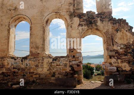Cunda island church ruins, Balikesir, Turkey - Stock Photo