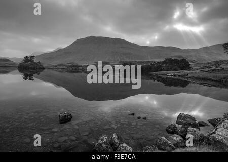 Dawn over Cregennan lakes, Gwynedd, Snowdonia National Park, North Wales, UK - Stock Photo
