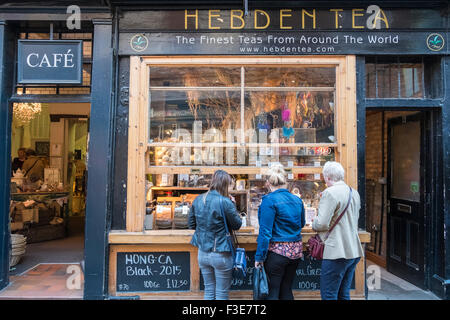 Speciality tea shop offering free tasting to passers by, The Shambles, York, North Yorkshire, England UK - Stock Photo