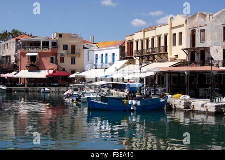 RETHYMNON VENETIAN HARBOUR ON THE GREEK ISLAND OF CRETE. - Stock Photo