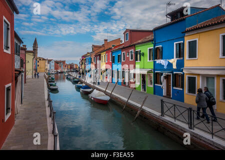 Colourful houses on Burano near Venice, Italy.  Burano is an Island in the Venetian Lagoon - Stock Photo