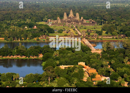 Aerial views of Angkor Wat. Angkor Archaeological Park, located in northern Cambodia, is one of the most important - Stock Photo