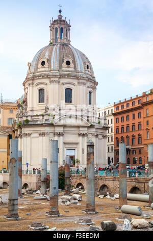Outdoor view of Santa Maria Di Loreto church in Rome, Italy - Stock Photo