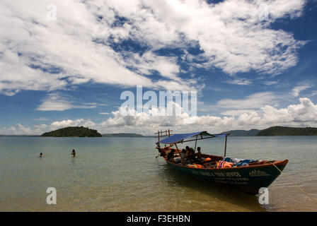 Boat for snorkeling on the island of Koh Russei. Koh Russei or Bamboo Island is one of a group of small islands - Stock Photo