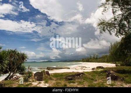 Virgin beach on the waterfront of Ream National Park. Ream National Park is located about 12 miles from Sihanoukville, - Stock Photo
