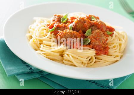 spaghetti with meatballs in tomato sauce - Stock Photo