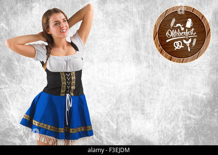 Composite image of pretty oktoberfest girl smiling - Stock Photo