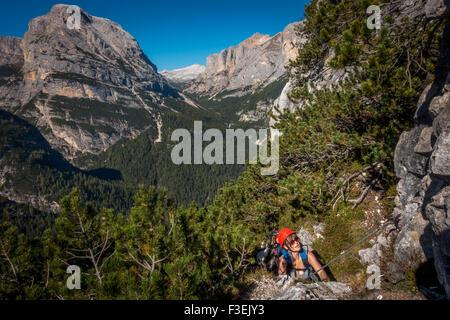 female climber on via ferrata che guevara monte casale trentino stock photo royalty free. Black Bedroom Furniture Sets. Home Design Ideas