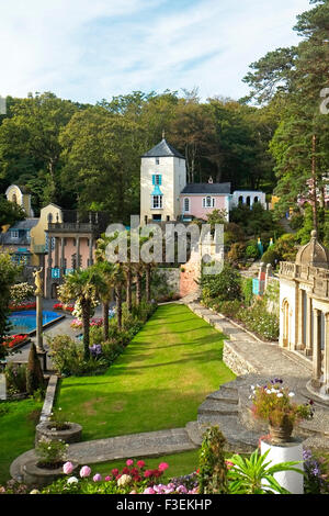 View of Port Meirion Village Gwynedd North Wales UK United Kingdom Europe - Stock Photo