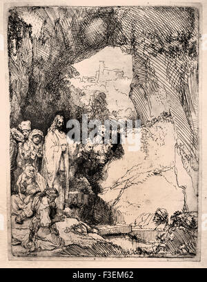 The raising of Lazarus 1642 Rembrandt Harmenszoon van Rijn1606–1669  Dutch Netherlands Etching Etch - Stock Photo
