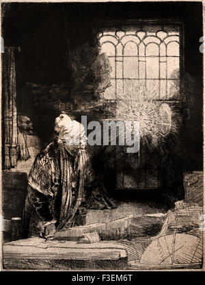 A Scholar in his Study ( Dr Faust )1652 Rembrandt Harmenszoon van Rijn1606–1669  Dutch Netherlands Etching Etch - Stock Photo