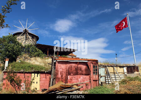 Stone windmill of Cunda Island, Ayvalik, Turkey. Facility is being used as a museum. - Stock Photo