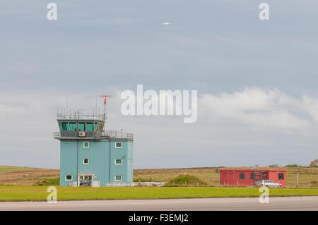 Control tower of Kirkwall Airport on the Orkney Islands - Stock Photo