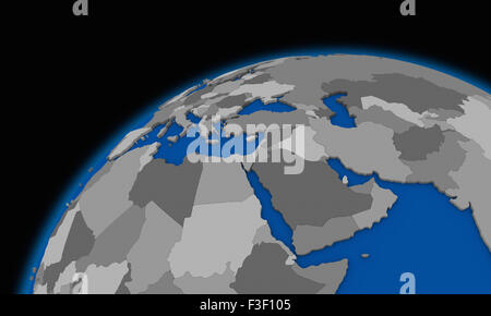 Middle East region on planet Earth from space with stars in the