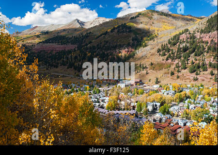 Autumn leaf dispays in Telluride, CO as seen from a gondola - Stock Photo