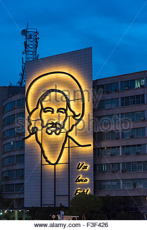 Camilo Cienfuegos outline sculpture in Havana, Cuba - Stock Photo