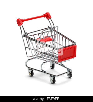 Red and Silver Shopping Cart Isolated on White Background. - Stock Photo