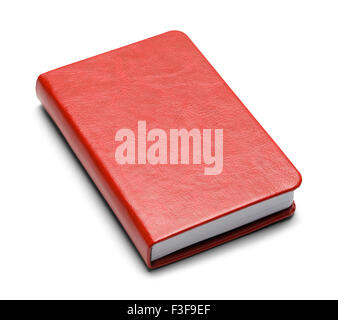 Closed Red Book With Copy Space Isolated on White Background. - Stock Photo