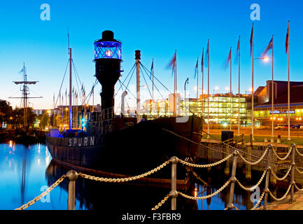 The Spurn Lightship moored in Hull Marina, Kingston upon Hull, East Riding of Yorkshire, Humberside, England UK - Stock Photo