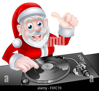 Cartoon Christmas Santa Claus DJ at the record decks - Stock Photo