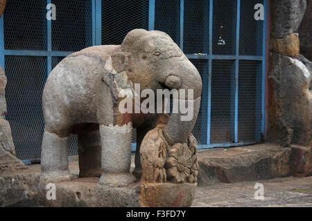 Statue of elephant in heritage Buddhist excavated site ; Udayagiri 1st C.BC ; Orissa ; India - Stock Photo
