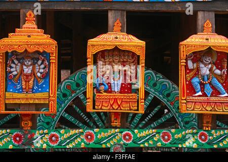 Gods statues on Rath yatra or Cart festival of Jagannath ; Puri ; Orissa ; India - Stock Photo