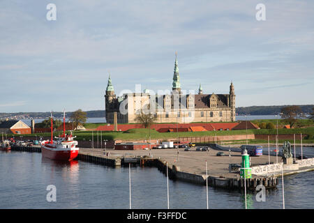 Distant View from ferry boat Kronborg castle exterior view UNESCO's World Heritage ; Helsingor ; Denmark ; Scandinavia - Stock Photo